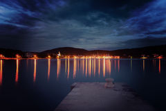 Dalmatia sunset in bay Royalty Free Stock Photos