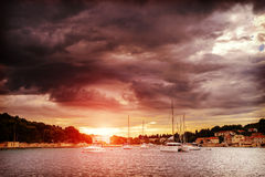 Dalmatia sunset in bay Stock Images