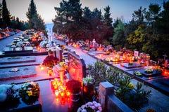Dalmatian cemetery in Croatia at dusk Stock Photography