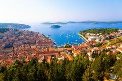 Dalmatian coast. High angle view of the Dalmatian coast from the city of Hvar, Croatia Royalty Free Stock Photo