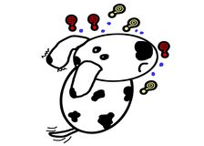 Dalmatian dog cartoon in action confuse stock illustration