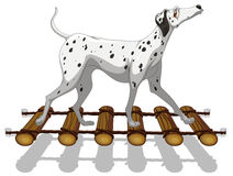 Dalmatian dog crossing the bridge. Illustration vector illustration