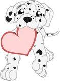 Dalmatian lindo de la historieta con el corazón stock de ilustración