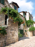 Dalmatian town. Ancient part of Stari Grad, Island of Hvar, Croatia royalty free stock images