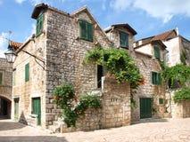 Dalmatian town. Ancient part of Stari Grad, Island of Hvar, Croatia royalty free stock photos