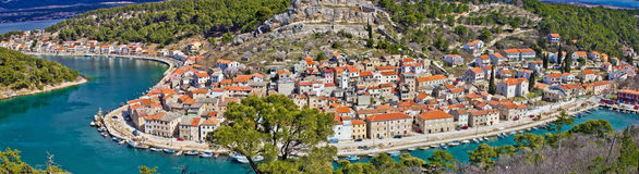 Dalmatian town of Novigrad panoramic. Colorful view, Adriatic, Croatia Royalty Free Stock Photos