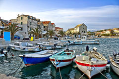 Dalmatian town of Primosten harbor Stock Photography