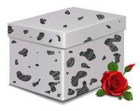 Dalmatian wool  gift box and red rose . Royalty Free Stock Photo
