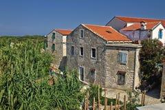 Dalmatische architectuur, Eiland Susak Stock Foto's