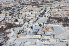 Dalmatovo Assumption Monastery in winter, top view Stock Photography