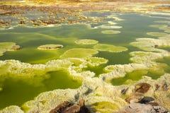 Dalol, Dankakil消沉 埃塞俄比亚的火山的温泉城 Earth's最低的土地火山 免版税图库摄影