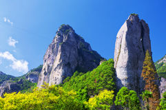 Dalong waterfall scenic area. Scissors Peak shaped rocks rising up from the ground at the Dalong Waterfall scenic area in Yandangshan mountain area located in royalty free stock images