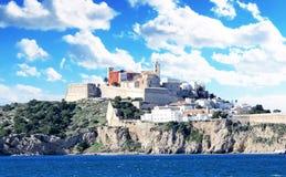 Dalt vila av den Ibiza staden royaltyfri bild