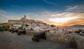 Dalt Vila fortress at sunset Stock Photography