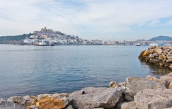 Dalt Vila on Ibiza Town hill across the bay Royalty Free Stock Photo