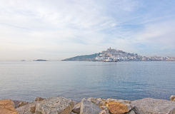 Dalt Vila on Ibiza Town hill across the bay Royalty Free Stock Photography