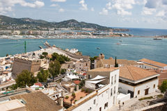 Dalt Villa. Image taken from the historic Dalt Villa overlooking the harbour of Eivissa stock images