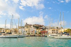 Dalt Villa in Eivissa, Ibiza. Sailboats and historic buildings of Dalt Villa in Eivissa, Ibiza Stock Images