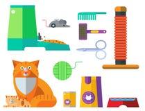 Daltar djura symboler för färgrik vektor för katt åtföljande gullig utrustning royaltyfri illustrationer