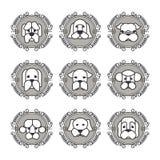 Daltar vektorsymboler - hundkapplöpningbeståndsdelar Arkivfoto