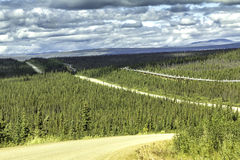 Dalton Highway in Alaska. Dalton Highway and Trans-Alaska oil pipeline Stock Images