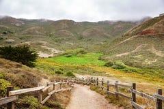 Dalväg i uddeområdet på en dimmig sommardag, nationell rekreationsområde för Golden Gate, Marin County, Kalifornien arkivbild
