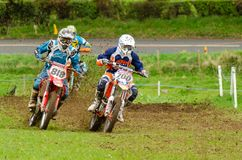 Dalways Bawn Motocross, Moto-X, Event, April 16th 2011, Carrickfergus, County Antrim, UK. Competitors compete in the Dalways Bawn, Motocross also known as Moto-X royalty free stock images
