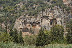 dalyan τάφοι Τουρκία βασιλιάδ&ome Στοκ Εικόνες