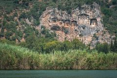 Dalyan Lycian Rock Tombs stock photos