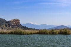 Dalyan River with tourist boats in the straits stock photography