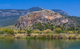 The Dalyan River with tourist boats in the straits of the river Royalty Free Stock Photos