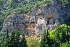 Dalyan tombs Stock Image