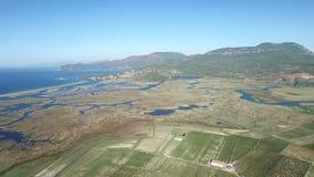 Dalyan Turkey. Aerial Landscape view stock footage