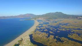 Dalyan Turkey. Aerial Landscape view stock video