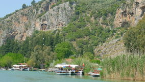 DALYAN, TURKEY - MAY 2015: boat tour river reeds, historical stock video footage