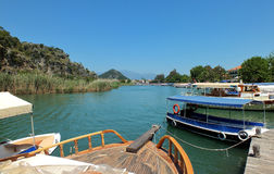 Dalyan in Turkey. Tour boats in Dalyan river. Dalyan is town in Koycegiz, Turkey Royalty Free Stock Photos