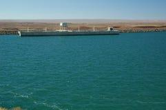 Dam. Water barrier dam, Chocon, Neuquen, Argentina stock image