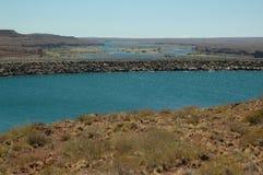 Dam. Water barrier dam, Chocon, Neuquen, Argentina stock photos