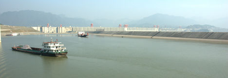 Dam. View on the Three Gorges Dam from the Yangtze river royalty free stock images