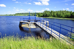 Dam. Med river, pond in Lithuania Stock Images