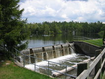 Dam. On the river in rural area Royalty Free Stock Photo