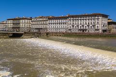 Dam across the Arno River, Florence, Italy Royalty Free Stock Images