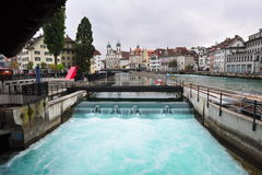Dam across Reuss River in Lucerne, Switzerland Stock Photos