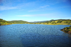Dam of Aracena, Huelva province, Andalusia, Spain. Landscape of Aracena reservoir full, natural park of Sierra de Aracena and Picos de Aroche, province of Huelva Royalty Free Stock Photography