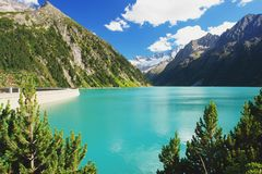 Dam in Austrian Alps Royalty Free Stock Photography
