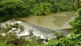 Dam on the background of forest stock footage