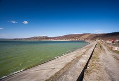 Dam, barrage, lake and blue sky Royalty Free Stock Photos