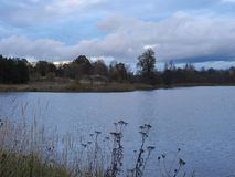 Dam in and beautiful cloudy sky in evening Royalty Free Stock Photography