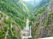 Dam. Beautiful view of dam inside Carpathian mountains Royalty Free Stock Images