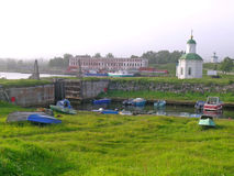 Dam and berth on Solovetsky islands Royalty Free Stock Photography